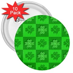 Fabric Shamrocks Clovers 3  Buttons (10 Pack)