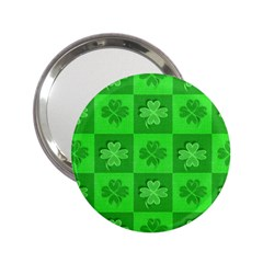Fabric Shamrocks Clovers 2 25  Handbag Mirrors