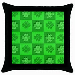 Fabric Shamrocks Clovers Throw Pillow Case (Black)