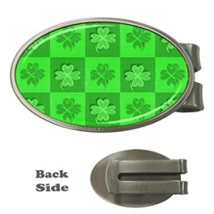 Fabric Shamrocks Clovers Money Clips (Oval)