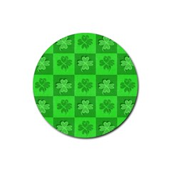 Fabric Shamrocks Clovers Rubber Round Coaster (4 pack)