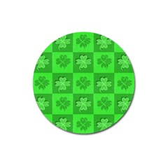 Fabric Shamrocks Clovers Magnet 3  (round)