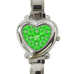 Fabric Shamrocks Clovers Heart Italian Charm Watch