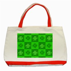 Fabric Shamrocks Clovers Classic Tote Bag (red)