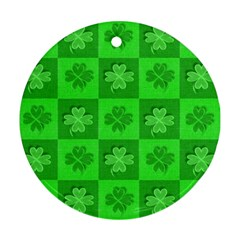 Fabric Shamrocks Clovers Round Ornament (two Sides)