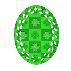 Fabric Shamrocks Clovers Ornament (Oval Filigree)