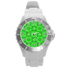 Fabric Shamrocks Clovers Round Plastic Sport Watch (l)