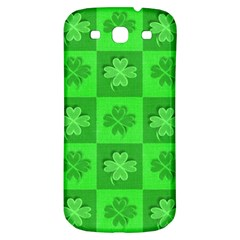 Fabric Shamrocks Clovers Samsung Galaxy S3 S III Classic Hardshell Back Case
