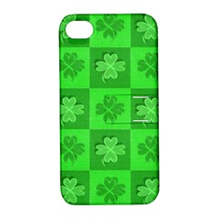 Fabric Shamrocks Clovers Apple iPhone 4/4S Hardshell Case with Stand