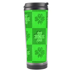 Fabric Shamrocks Clovers Travel Tumbler