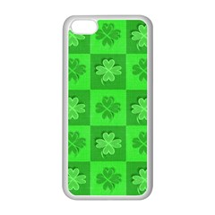 Fabric Shamrocks Clovers Apple iPhone 5C Seamless Case (White)
