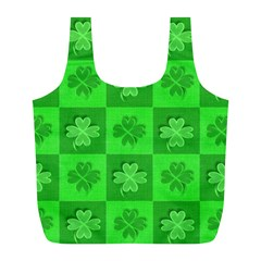 Fabric Shamrocks Clovers Full Print Recycle Bags (L)
