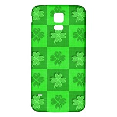 Fabric Shamrocks Clovers Samsung Galaxy S5 Back Case (White)
