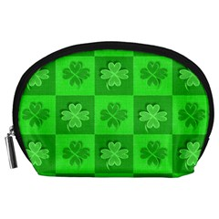 Fabric Shamrocks Clovers Accessory Pouches (Large)
