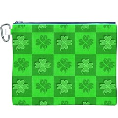 Fabric Shamrocks Clovers Canvas Cosmetic Bag (XXXL)