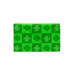 Fabric Shamrocks Clovers Cosmetic Bag (XS)