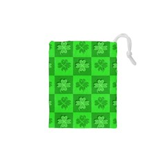 Fabric Shamrocks Clovers Drawstring Pouches (XS)