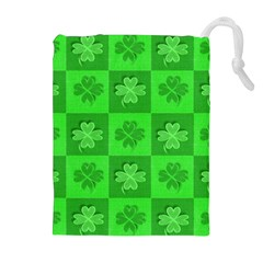 Fabric Shamrocks Clovers Drawstring Pouches (extra Large)