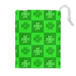 Fabric Shamrocks Clovers Drawstring Pouches (Extra Large) Front