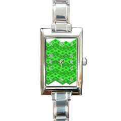 Shamrocks 3d Fabric 4 Leaf Clover Rectangle Italian Charm Watch