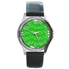 Shamrocks 3d Fabric 4 Leaf Clover Round Metal Watch