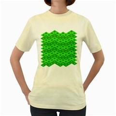 Shamrocks 3d Fabric 4 Leaf Clover Women s Yellow T Shirt