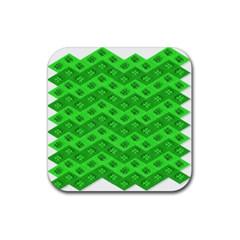 Shamrocks 3d Fabric 4 Leaf Clover Rubber Square Coaster (4 Pack)