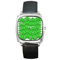 Shamrocks 3d Fabric 4 Leaf Clover Square Metal Watch