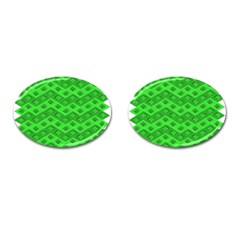 Shamrocks 3d Fabric 4 Leaf Clover Cufflinks (Oval)