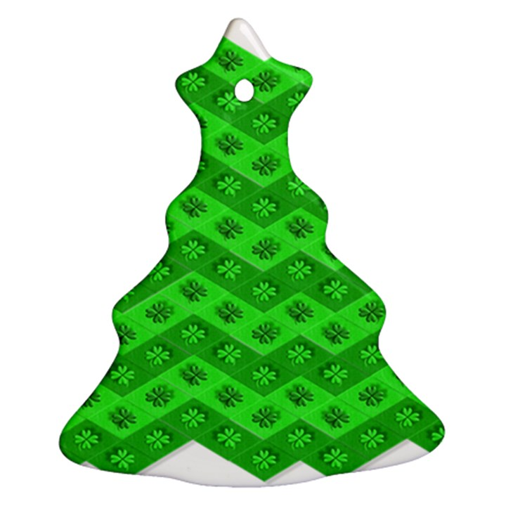 Shamrocks 3d Fabric 4 Leaf Clover Christmas Tree Ornament (Two Sides)