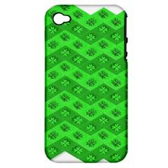 Shamrocks 3d Fabric 4 Leaf Clover Apple iPhone 4/4S Hardshell Case (PC+Silicone)