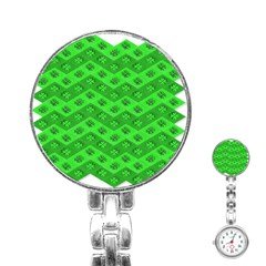 Shamrocks 3d Fabric 4 Leaf Clover Stainless Steel Nurses Watch