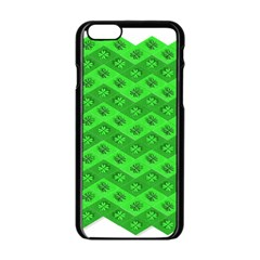 Shamrocks 3d Fabric 4 Leaf Clover Apple iPhone 6/6S Black Enamel Case