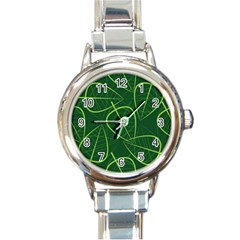 Vector Seamless Green Leaf Pattern Round Italian Charm Watch