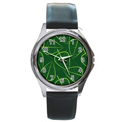 Vector Seamless Green Leaf Pattern Round Metal Watch