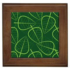 Vector Seamless Green Leaf Pattern Framed Tiles