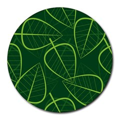 Vector Seamless Green Leaf Pattern Round Mousepads