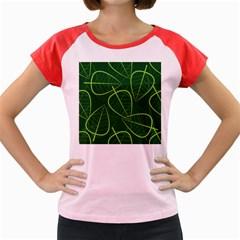 Vector Seamless Green Leaf Pattern Women s Cap Sleeve T Shirt