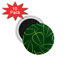 Vector Seamless Green Leaf Pattern 1 75  Magnets (10 Pack)
