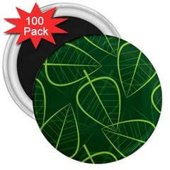 Vector Seamless Green Leaf Pattern 3  Magnets (100 pack)