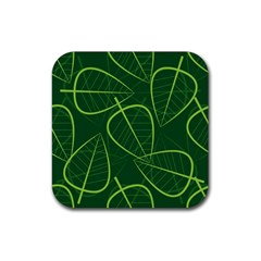 Vector Seamless Green Leaf Pattern Rubber Coaster (Square)