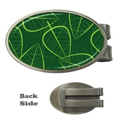 Vector Seamless Green Leaf Pattern Money Clips (Oval)