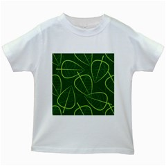 Vector Seamless Green Leaf Pattern Kids White T-Shirts