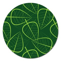 Vector Seamless Green Leaf Pattern Magnet 5  (Round)