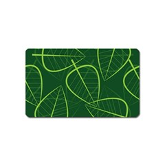 Vector Seamless Green Leaf Pattern Magnet (Name Card)