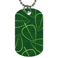 Vector Seamless Green Leaf Pattern Dog Tag (Two Sides)
