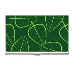 Vector Seamless Green Leaf Pattern Business Card Holders