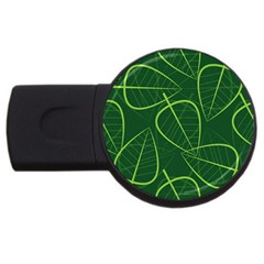 Vector Seamless Green Leaf Pattern USB Flash Drive Round (1 GB)