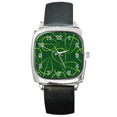 Vector Seamless Green Leaf Pattern Square Metal Watch
