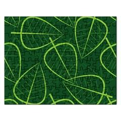 Vector Seamless Green Leaf Pattern Rectangular Jigsaw Puzzl